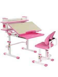 Парта детская растущая и стул, C403 PINK