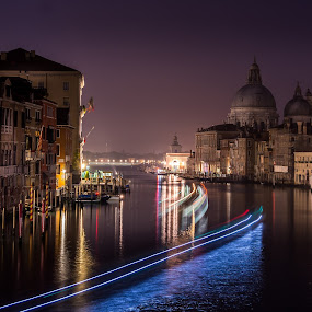 Lights in the canal by Luis Silva - Buildings & Architecture Public & Historical ( light trail, dawn, gran canal, accademia, long exposure, veneza,  )