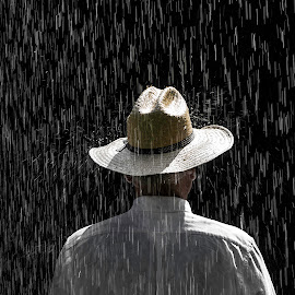 Rain On Me  2527 by Karen Celella - People Portraits of Men ( rain, weather, hat, man, water, people,  )