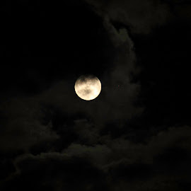 Cloudy moon by Христина Попова - Landscapes Cloud Formations ( clouds, moon, night, landscape )
