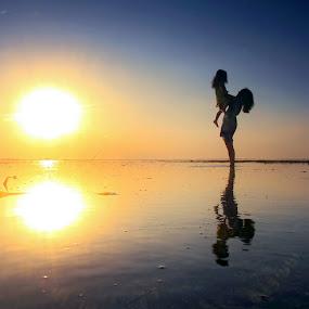 Beach Fun by Alit  Apriyana - People Family ( bali, mother, sunset, kids, sunrise, fun, beach )