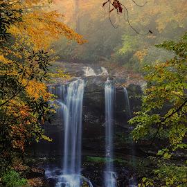 Dry Falls, Highlands NC by Jonathan Wheeler - Landscapes Mountains & Hills ( dry falls, western north carolina, waterfalls, fall colors, cullasaja river, appalachian mountains )
