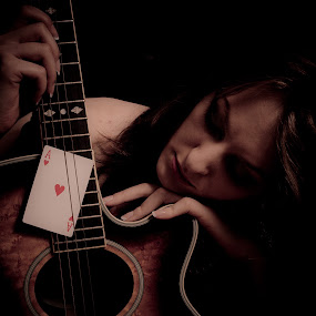 Only the Aces of Hearts can Save me Now by Bryn Graves - People Portraits of Women ( woman, mood, guitar, cards )
