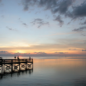 Sunset Pier by Bill Bettilyon - Landscapes Waterscapes ( sunset, pier, gulf of mexico, fishing )