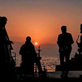 street jazz band by John Triantafillopoulos - People Musicians & Entertainers ( band, thessaloniki, sunset, greece, jazz, seascape )
