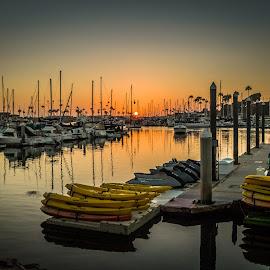Oceanside Harbor Village, Ca by Ken Mickel - Landscapes Waterscapes ( water, oceanside, harbor, sunsets, california, boats, harbor village, boat )