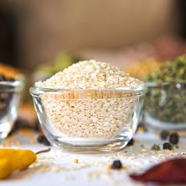 White Sesame Seeds by Kunal Kumar Maurya - Food & Drink Ingredients ( bowl, seed, white, seeds, sesame )