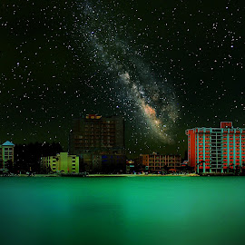 Clearwater Nights by Alex  Wolf - City,  Street & Park  Skylines ( water, skyline, alex wolf, wolfproductions.us, florida, clearwater, ocean, night, milky way, nightscape )