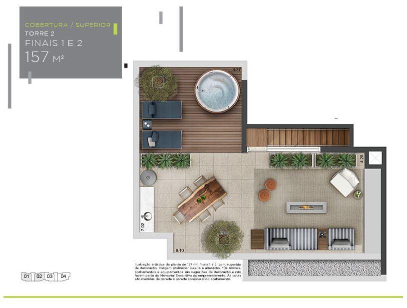 Planta Cobertura Superior - 157 m²