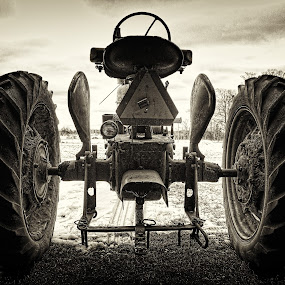 Grandpas Tractor by Kevin Stacey - Artistic Objects Other Objects ( farm, clouds, sepia, sky, barn, hdr, farmall, white, counrty, tractor, black )