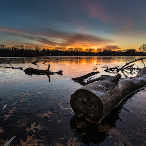 Frozen in Time by Larry Kaasa - Landscapes Waterscapes ( nature, hdr, waterscape, sunset, landscape )