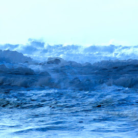 Surf Surf by Richard Young - Abstract Water Drops & Splashes ( double exposure, richard l young, blue, waves, jetty, wet, surf, ocean view )