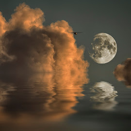 Fly me to the moon by Egon Zitter - Digital Art Things ( clouds, flight, moon, sky, airplane )