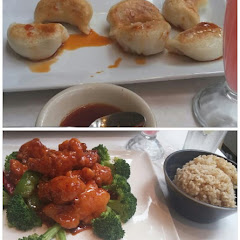 Dumplings, and General Tso's with brown rice.