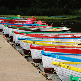 Boats in a row by Peter Salmon - Transportation Boats ( on the water, boats, lines, row, colours )