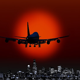 SUNSET AVIATION by Nasser Osman - Digital Art Places ( aviation, sunset, nasser osman, cityscape, sun,  )