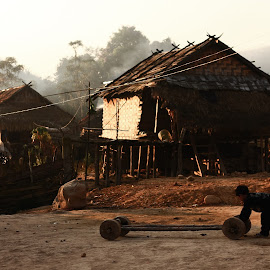 Village Life by William Allinson - City,  Street & Park  Neighborhoods ( laos, life, village, morning )
