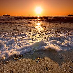 Kuşadası -sunset by Ömür Kahveci - Landscapes Waterscapes ( kuşadası, see, sunset, beach, seascape, sun )
