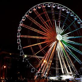 skyview atlanta by Sunil Pawar - City,  Street & Park  City Parks ( tourist, park, roller coaster, tourism, night, skywheel, skyview, travel, atlanta, attraction, ferris wheel )