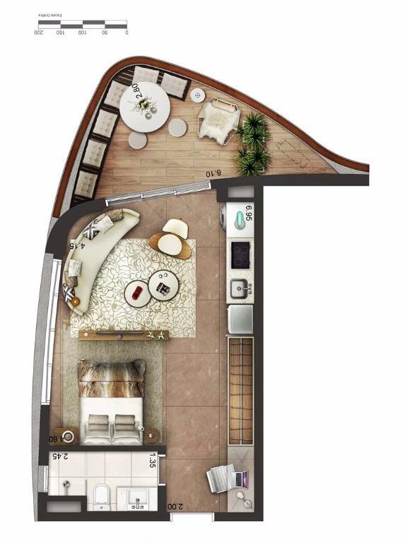 Apto 49 m² Layout 2