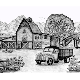 TETON VALLEY RANCH by Gerry Slabaugh - Drawing All Drawing ( sketch, ranch, barn, teton valley ranch, ford truck, grand tetons, tetons, drawing )