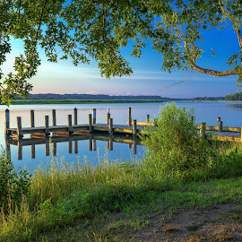 Summer on the Patuxent by Cindy Hartman - Landscapes Waterscapes ( maryland, summer, patuxent, sunrise, morning, river )