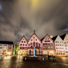 Frankfurt by Jaideep Abraham - City,  Street & Park  Night ( frankfurt, street, night, germany, square )