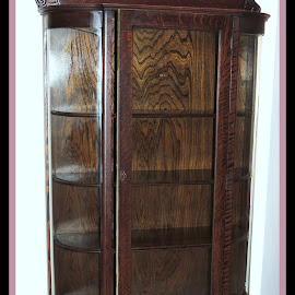 Curio Circa 1900 by Becky Luschei - Artistic Objects Furniture ( old, curio, wood, vintage, beautiful, bowed glass, 1900, built, floated, mahogany, panes )