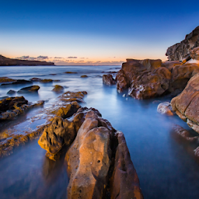 Malabar by Rebecca Ramaley - Landscapes Waterscapes ( australia, low tide, sunrise, rocks, sydney, malabar )