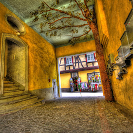 Yellow Corridor by Eric Demattos - Buildings & Architecture Other Exteriors ( eric demattos, germany, yellow, cobblestone )