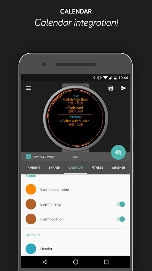 Pujie Black Android Wear Watch Face Designer Screenshot 6