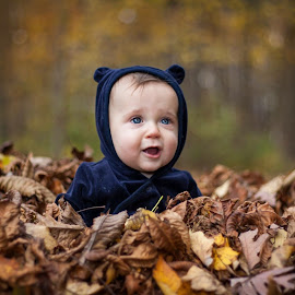 Baby in leaves by Colleen Nichols - Babies & Children Babies ( fall, baby, leaves,  )