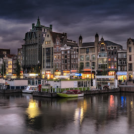 Amsterdam by Adam Lang - City,  Street & Park  Vistas ( water, boats, buildings, amsterdam, canal, city )