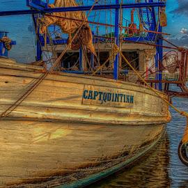 CAPT, QUINTINN by Dan Peters - Transportation Boats ( quintinn, oyster boat, pass christian, capt, rustic boats )