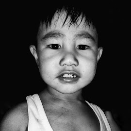 Nokie by Jerian Dale Figueroa - Babies & Children Child Portraits ( black background, black and white, head, toddler, portrait )