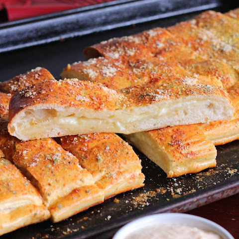 Cheesy Stuffed Garlic Parmesan Breadsticks