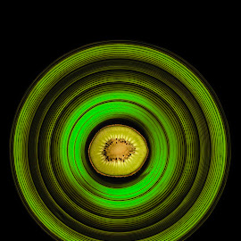Kiwi! by Duncan Rea - Digital Art Things ( fruit, pattern, green, seed, dark, lime, black )
