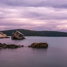 Shipwreck by Elvis Catela - Landscapes Travel ( clouds, shipwreck, ship, croatia, clouds and sea, sea, seascape, rocks, rewck )