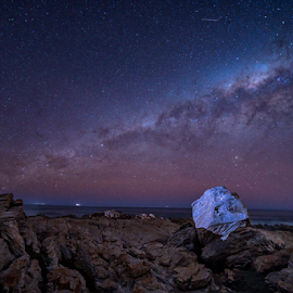 The White Rock by Clive Wright - Landscapes Starscapes ( sky, milky way, boulder, rocks, light, night, stars )