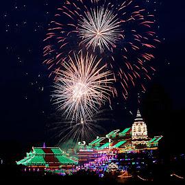 Fireworks at Kek Lok Si Temple by Paramasivam Tharumalingam - Abstract Fire & Fireworks