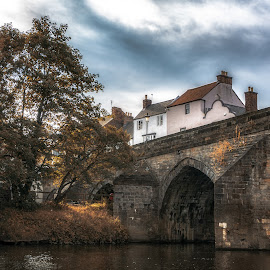 Bridge in Durham by Adam Lang - City,  Street & Park  Historic Districts ( durham, sky, tree, bridge, river )