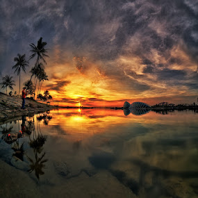 Burning Sunrise by Partha Roy - Landscapes Travel ( garden by thr bay, mbs, pwcreflections, reflections, sunrise, marina bay, singapore )