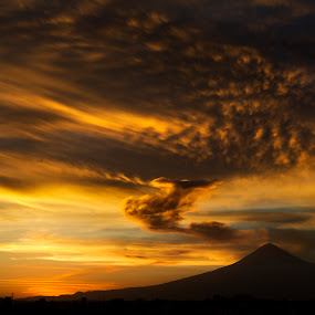 Popocatepetl and clouds by Cristobal Garciaferro Rubio - Landscapes Cloud Formations ( cholula, volcano, mexico, sunset, clouds and popo, puebla, popocatepetl, smoking volcano )