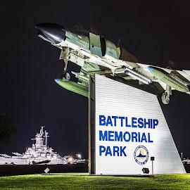 Battleship Park Mobile, Alabama by Shutter Bay Photography - Transportation Airplanes ( paris, fighterjet, night photography, airplane, jet, nightscapes, military )