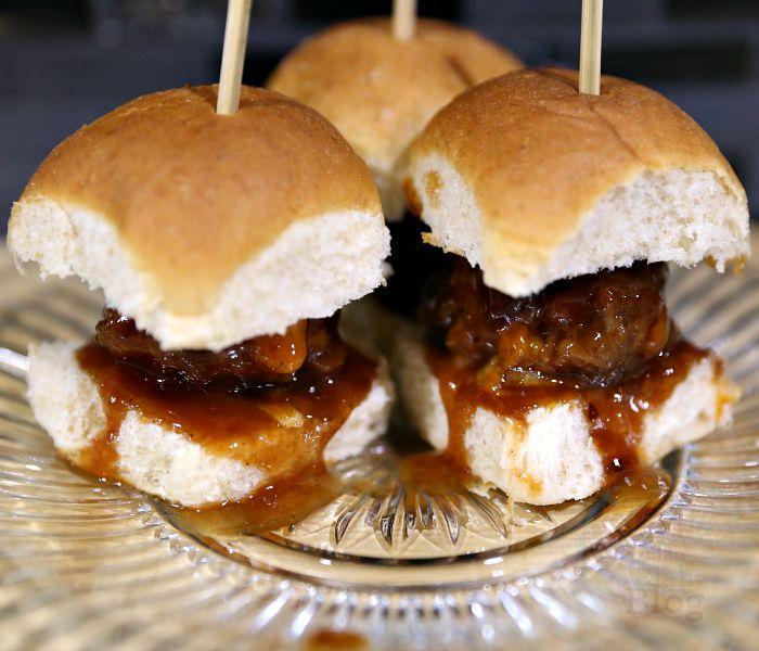 Slow Cooker Mozzarella Stuffed Honey BBQ Meatball Sliders Recipe ...