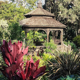 Garden Pagoda by Gail Marsella - Nature Up Close Gardens & Produce ( red, pagoda, green, san diego botanical garden, garden )