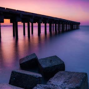 sunset bridge by Theyjun Photoworks - Landscapes Waterscapes ( water, sony, sunset, beach, landscapes )