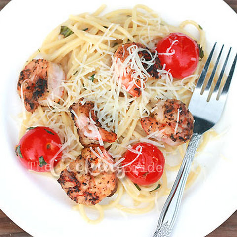 Grilled Shrimp with Cherry Tomatoes on Linguine