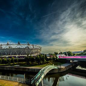 Olympic Stadium by Matt Cooper - Buildings & Architecture Public & Historical ( england, sky, london, olympics, blue, cloud, stratford, bridge )