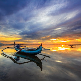 Another Finest Hour by Choky Ochtavian Watulingas - Landscapes Sunsets & Sunrises ( cloud formations, clouds, seashore, jukung, seeascape, clouds and sea, reflections, sunrise, morning, skies )
